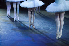Ballerinas in the movement. Feet of ballerinas close up. Royalty Free Stock Image