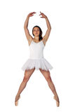 Ballerinas pose. Young ballerina on a white background stretching up high Royalty Free Stock Photo
