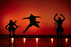Ballerinas silhouette while they are dancing Royalty Free Stock Photo