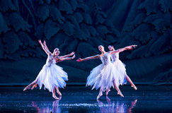 Ballerinas on a stage. Group of ballerinas are dancing waltz of the Snowflakes. Ballet P. Tchaikovsky The Nutcracker Royalty Free Stock Image