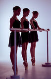 Ballerinas stretching on the bar Royalty Free Stock Photos