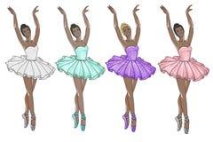 Ballerinas wearing tutu in different colors - dark skin tone ballerina. Raster Image - Ballerinas wearing tutu in different colors - dark skin tone ballerina Stock Photography