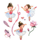 Ballerinas on a white background. Set of 9 watercolor images Stock Photos
