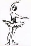 Ballerine à l'encre noire Photographie stock