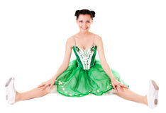Ballerine. Smiling ballerina in green dress isolated on white background Stock Images