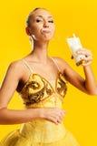 Ballerine avec une moustache de lait Photo libre de droits