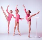 Ballerine che allungano sulla barra Fotografia Stock Libera da Diritti