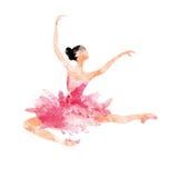 Ballerine d'aquarelle dans la danse rose Photos libres de droits