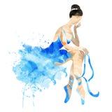 Ballerine d'aquarelle dans un rose Photos libres de droits