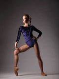 Ballerine dans l'équipement bleu posant, belle femme mince dans des chaussures de pionte Photo stock