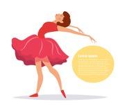 Ballerine dans la danse rouge de robe Image stock