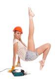 Ballerine dans le casque orange Image stock