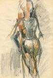 Ballerine, dessinant 4 illustration de vecteur