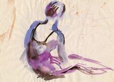 Ballerine violette, dessinant Image libre de droits