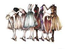 Ballerinen sind in der Tanzhaltung Illustrationsmarkierungen stock abbildung