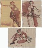 Ballerines, dessinant 3 illustration stock