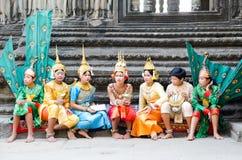Ballerini Angkor Wat, Cambogia Fotografia Stock