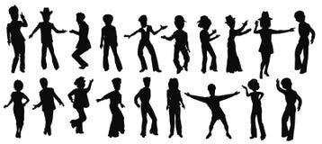Ballerini della città della musica funky in siluetta Fotografia Stock