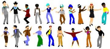 Ballerini della città della musica funky sopra bianco Immagine Stock Libera da Diritti