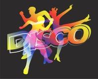 Ballerini della discoteca su fondo nero Immagini Stock Libere da Diritti