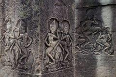 Ballerini di Apsara sulle colonne, Angkor Thom, Cambogia Fotografia Stock Libera da Diritti