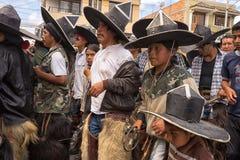 Ballerini di Inti Raymi in Cotacachi Ecuador Immagine Stock