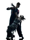 Ballerini eleganti delle coppie che ballano siluetta Fotografie Stock Libere da Diritti
