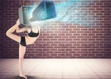 Ballerino con andare della nota capa e musicale della TV della TV Fotografia Stock