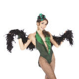 Ballerino del burlesque con il vestito verde Fotografia Stock