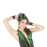 Ballerino del burlesque con il vestito verde Immagine Stock Libera da Diritti