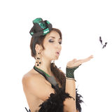 Ballerino del burlesque con il vestito verde Immagini Stock