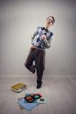 Ballerino del nerd fotografia stock libera da diritti