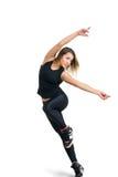 Ballerino della donna isolato a bianco Immagini Stock Libere da Diritti