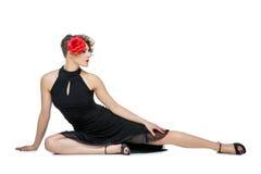 Ballerino della ragazza in vestito da tango fotografia stock libera da diritti
