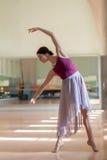 Ballerino di balletto classico che posa alla sbarra sulla ripetizione immagini stock
