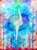 Ballerino di balletto femminile in gonna di balletto e scarpe, gambe allungate ballanti royalty illustrazione gratis