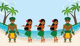 Ballerino di hula in bella spiaggia royalty illustrazione gratis