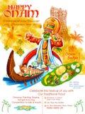 Ballerino di Kathakali su fondo per il festival felice di Onam dell'India del sud Kerala royalty illustrazione gratis
