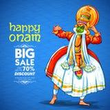 Ballerino di Kathakali sulla pubblicità e fondo di promozione per il festival felice di Onam dell'India del sud Kerala illustrazione di stock