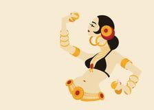 Ballerino di pancia tribale con i piatti che tengono p impressionante espressiva illustrazione vettoriale