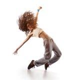 Ballerino grazioso della donna isolato su bianco Fotografia Stock