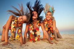 Ballerino hawaiano Girls di hula Fotografia Stock