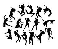 Ballerino hip-hop Activity Silhouettes Fotografia Stock