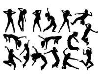 Ballerino hip-hop divertente Activity Silhouettes Immagine Stock