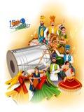 Ballerino indiano sulla festa dell'indipendenza felice del fondo dell'India illustrazione vettoriale