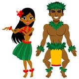 Ballerino, uomo e donna di hula illustrazione vettoriale