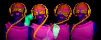 Ballerino uv al neon sexy di incandescenza immagine stock libera da diritti