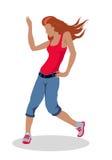 Ballerino Woman Illustration della via nella progettazione piana Immagini Stock