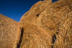 Balles de foin empilées sur un champ contre le ciel bleu photo libre de droits