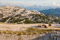 Balles de foin sur la voie de marche dans des Alpes de Hoher Dachstein Photos libres de droits